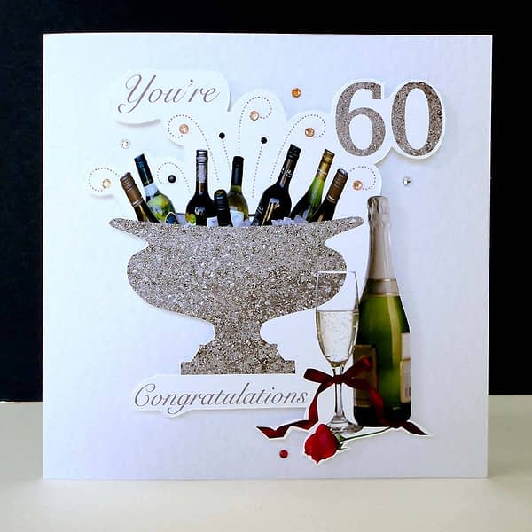 Celebration Bottles & Red Rose 60th Birthday Card