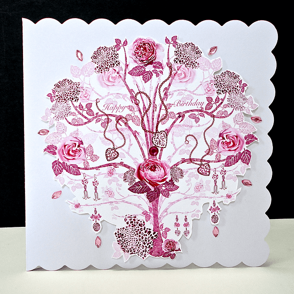 Rose Pink Jewelled Tree Handmade Card