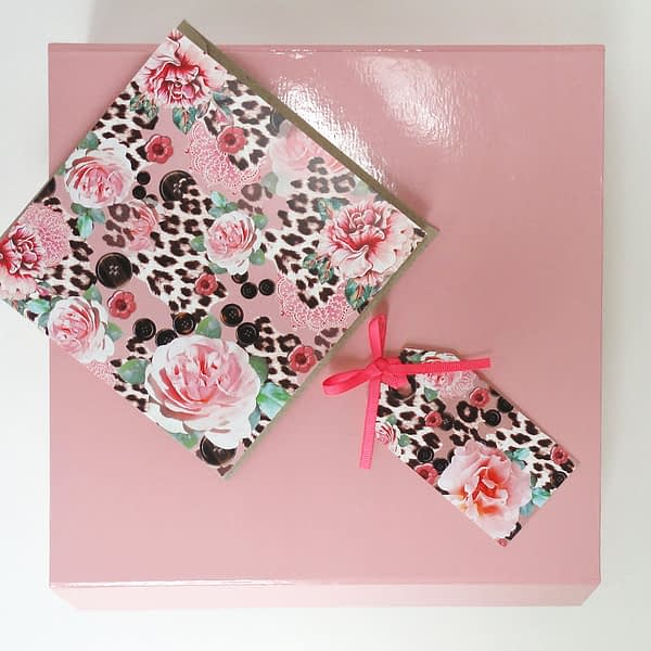 Pink Rose Cork Coaster Gift Set