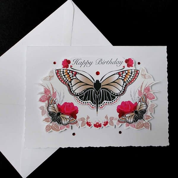 Red And Black Butterfly Handmade Happy Birthday Card