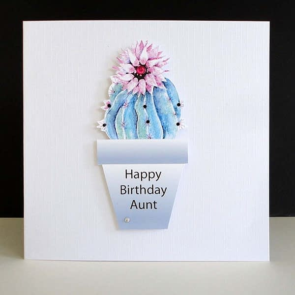 Rosy Pincushion Cactus Happy Birthday Aunt Card