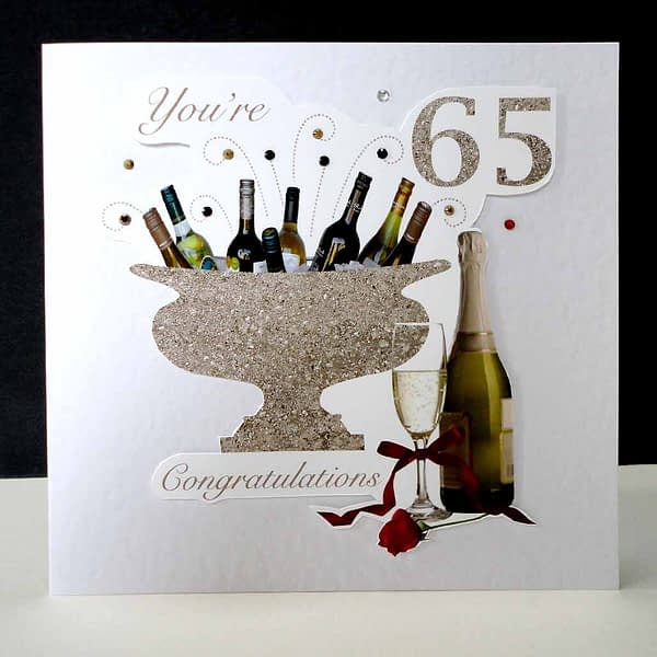 Celebration Bottles & Red Rose 65th Birthday Card