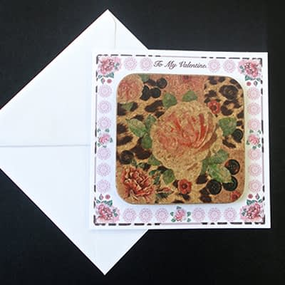 Pink Rose & Skin Print Coaster Card