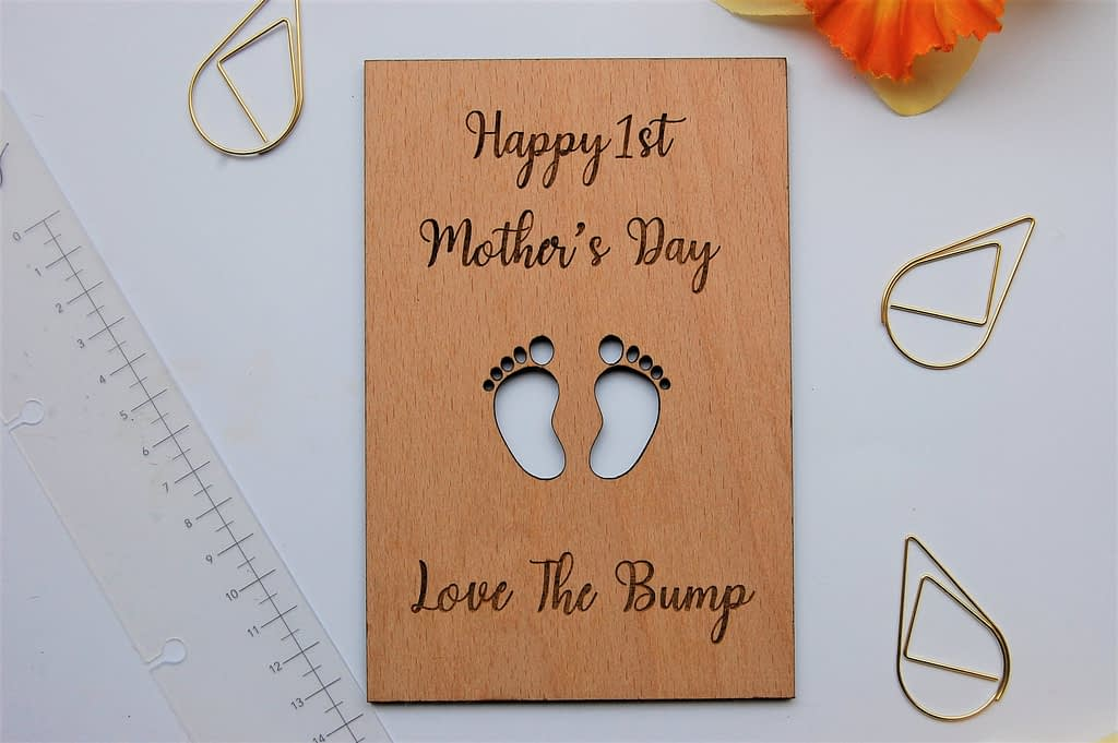 First Mothers Day Card 1st Mothers Day Gift Wood image 0
