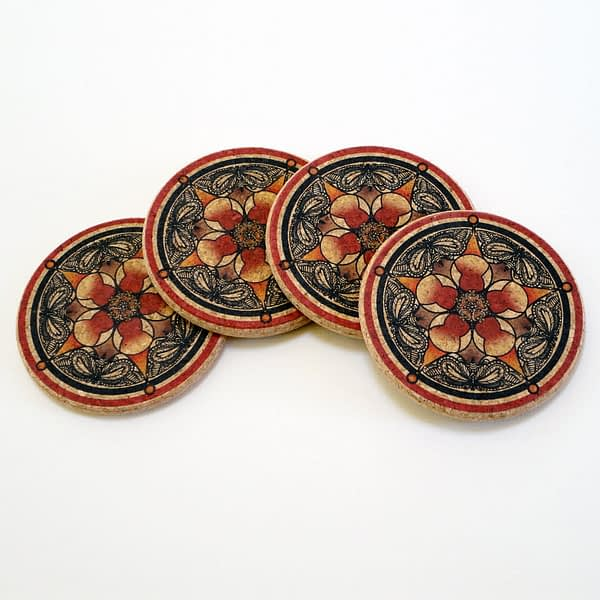 Four Red Flower & Butterfly Round Cork Coasters