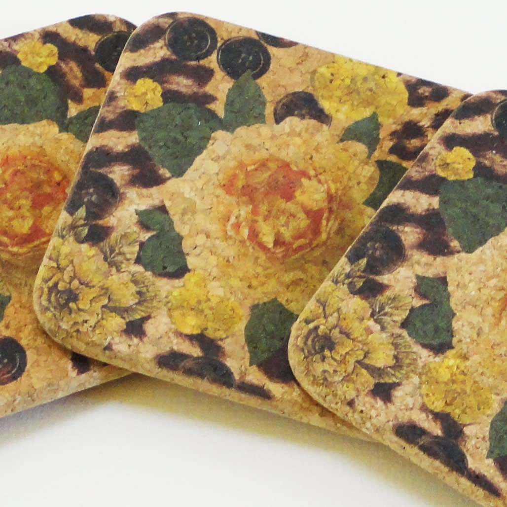 Four Yellow Rose and Skin Print Square Cork Coasters