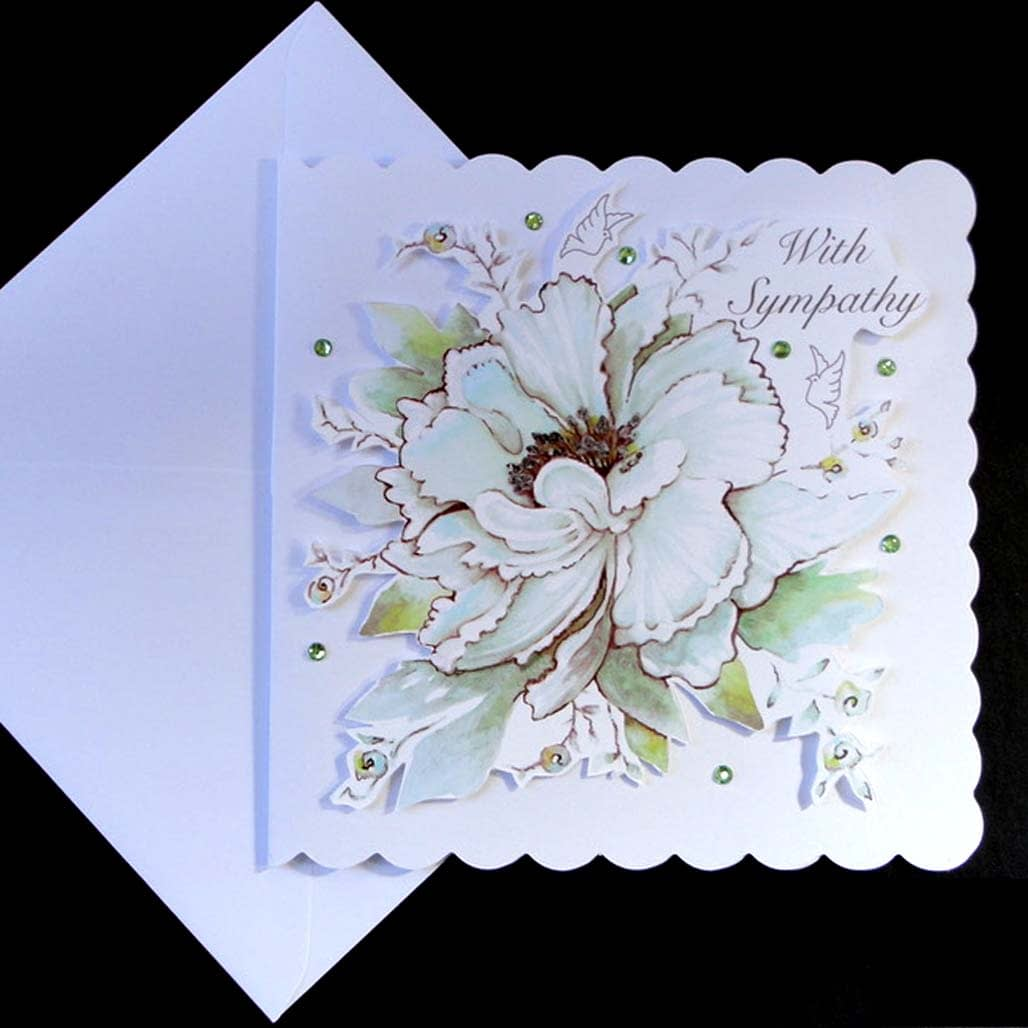 white flowers and doves handmade sympathy card  decorque
