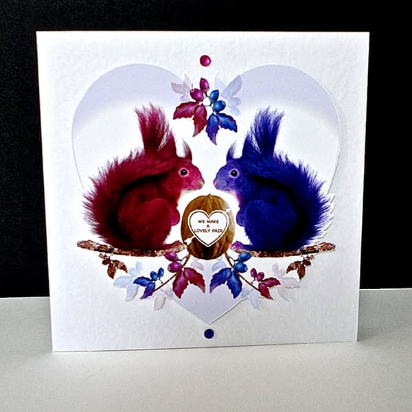 Valentine's – A Lovely Pair of Squirrels Handmade Card.