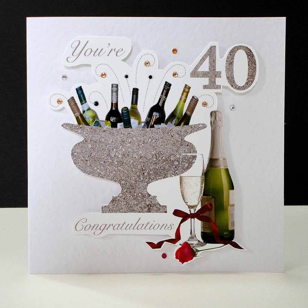 Celebrations Bottles & Red Rose 40th Birthday Card.