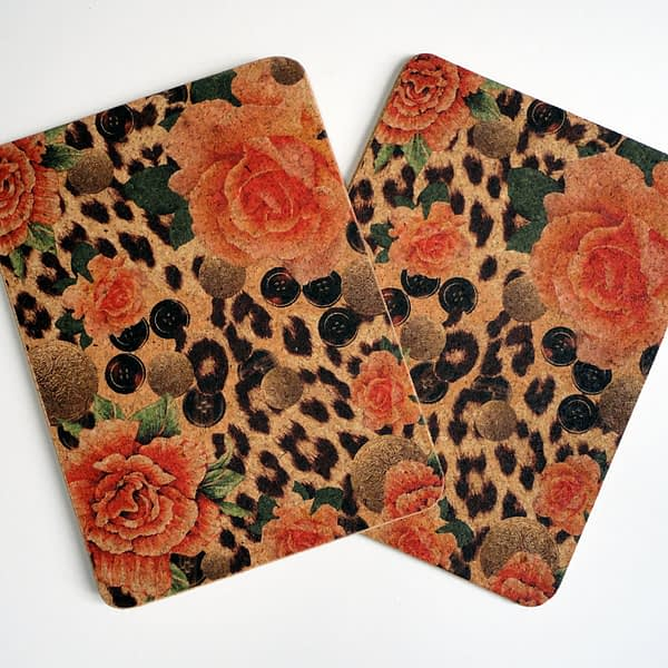 Two Orange Rose & Skin Rectangular Cork Placemats