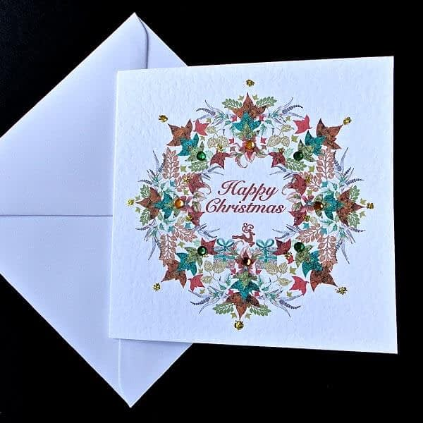Christmas Leaf Garland Card