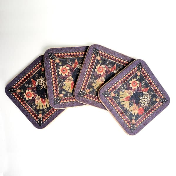 Four Tropical Panther Square Cork Coasters