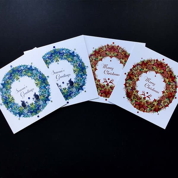 Reindeer and Squirrel Christmas Garland pack of Four Cards