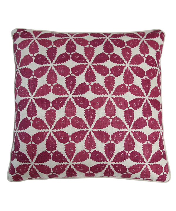Cut out shot of a cranberry red, Moroccan patterned, hand-printed linen cushion.