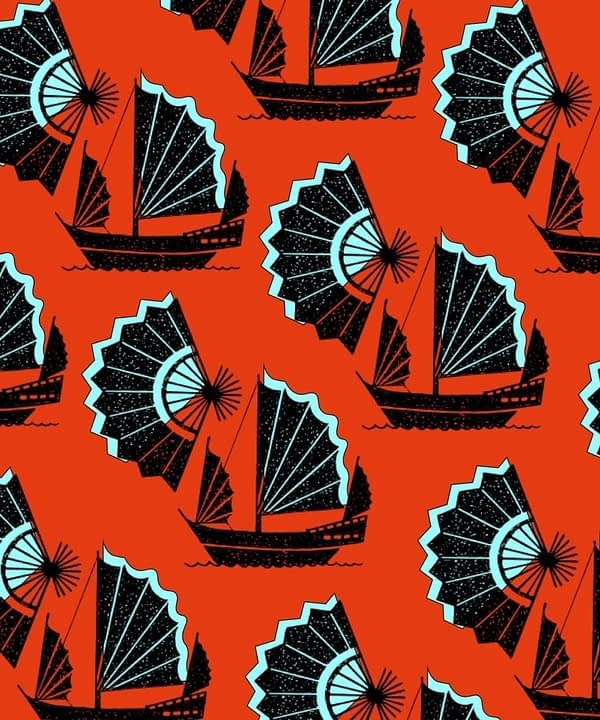 A bold, red Chinoiserie wallpaper with stylised Asian motifs of paper fans and traditional Chinese junk ships.