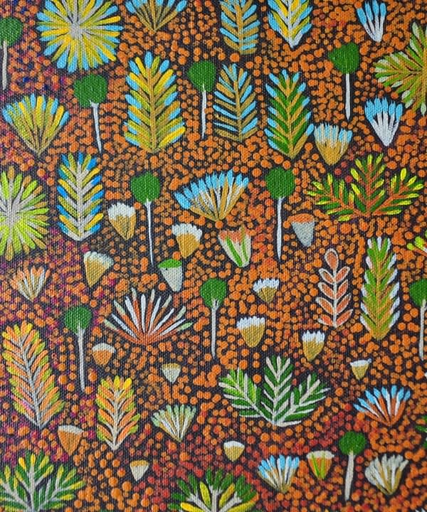 Close-up shot of the original Aboriginal art canvas painting that inspired the wallpaper design of the same name.