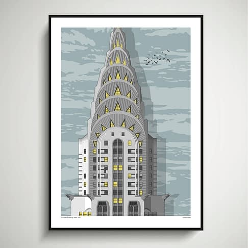 New York city print of the iconic Chrysler Building, rendered as an architectural drawing detail.