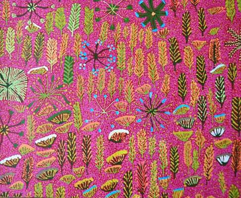 Detail of pink Aboriginal culture wallpaper, from Telescope Style.