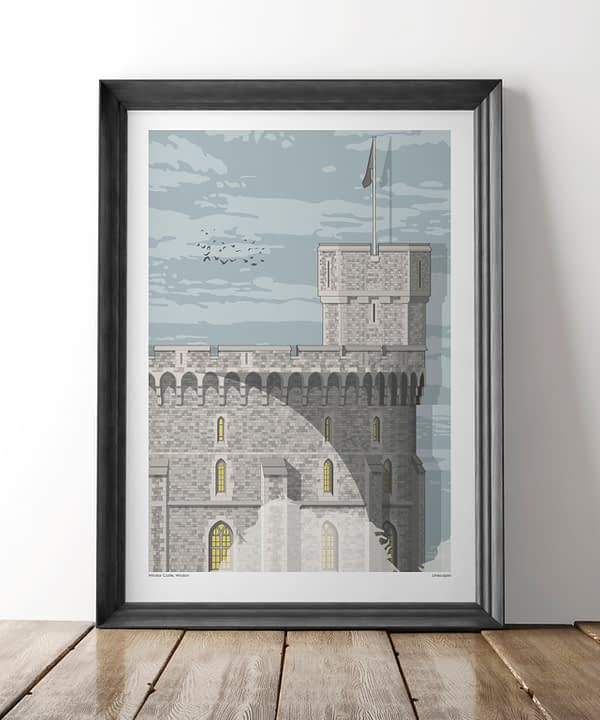 A large scale framed print of iconic Royal residence, Windsor Castle.