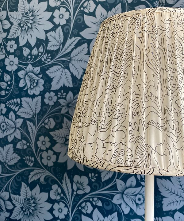 Black and white lampshades detail showing the delicate silk pattern.