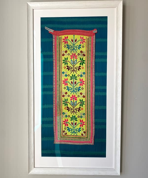 Framed textile art for your walls in yellow and turquoise