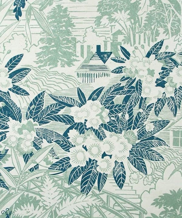 Arts and crafts wallpaper detail in duck egg and teal from the Webb's Wonder range of wallpapers available through Telescope Style.
