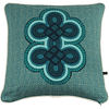 Turquoise cushion covers with an African double knot print.