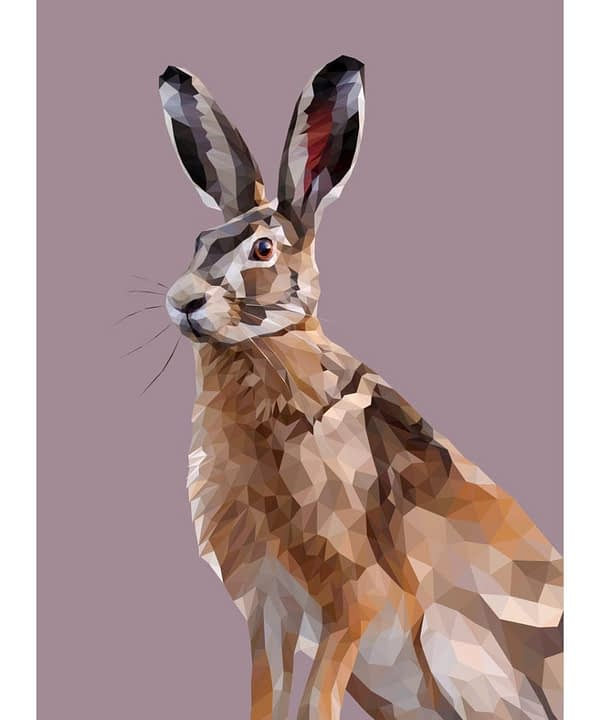 A lively, hare print created digitally in portrait form and set against a heather-hued backdrop.