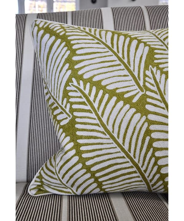 Chartreuse design cushion, handmade in Indian Kashmiri crewelwork, available from Telescope Style.