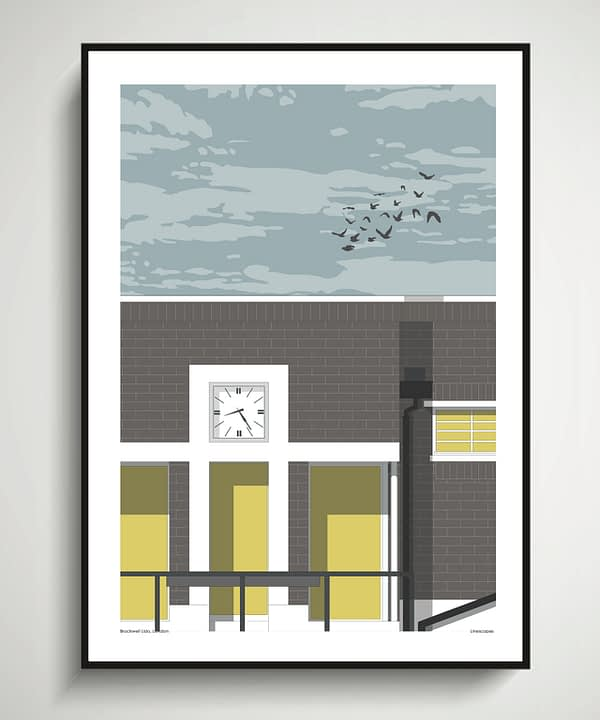Print of Brockwell Lido in south London.