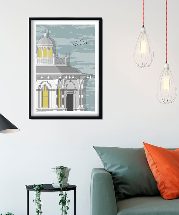 Brighton art print featuring the town's iconic West Pier kiosk building.
