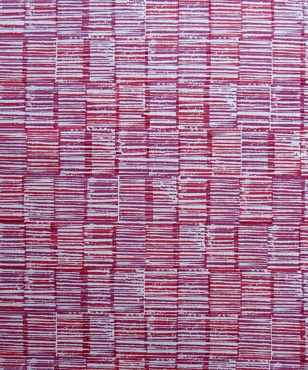 Fabric detail of the deep pink cushions in Japanese-style pomegranate 'Sakori' linen, available through Telescope Style.