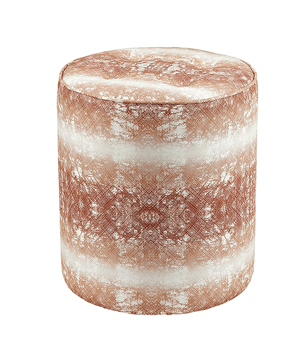 A copper-coloured, upholstered footstool with intricate, African-inspired, print detail and faded horizontal bands.