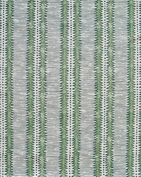A green striped cushion fabric with a West African-inspired zig-zag design hand-printed on linen.