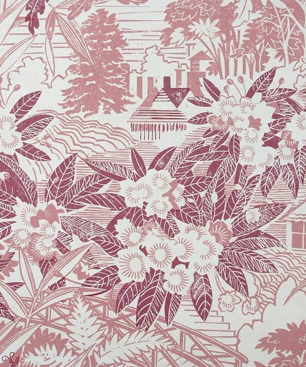 Detail of Webb's Wonder pink floral wallpaper in the 'Raspberry' colourway.