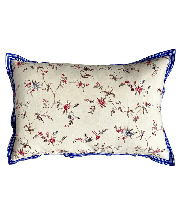 A pretty floral linen cushion with a sprig design and blue striped trim.