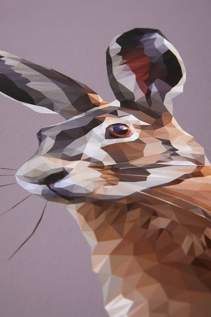 A detail of the digitally-created hare print.