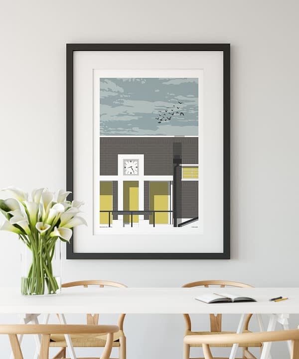 Brockwell lido artwork in a dining room.