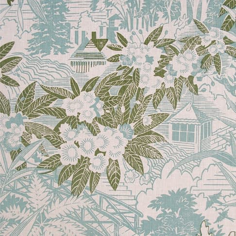 A soft blue and sage green cushion fabric depicting a rural country house garden hand-printed on linen.