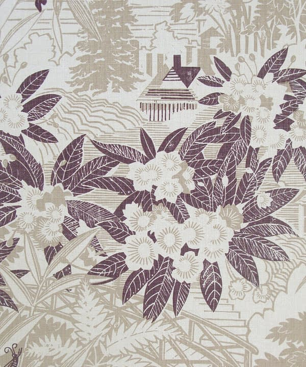 Stone coloured cushions fabric with sepia accents depicting a country house garden.