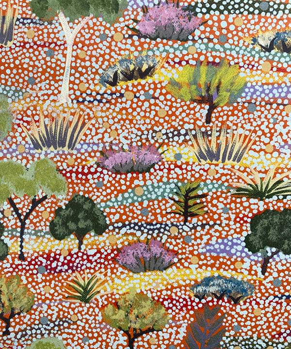 Pastel wallpaper detail translated from an original Aboriginal canvas painting.