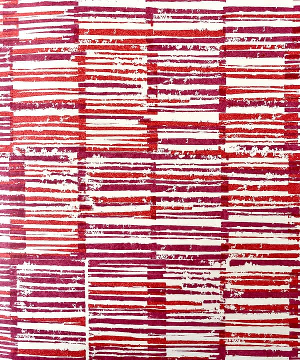 Japanese pattern wallpaper in detail showing the warm red colourway of plum and pomegranate.