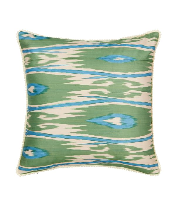Blue and green cushions in hand-woven, luxury silk Ikat.