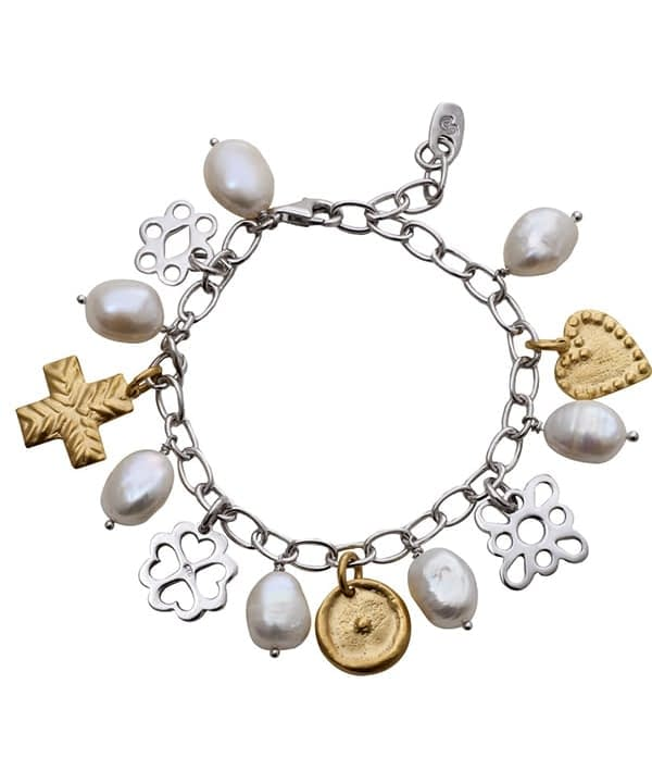 Charm bracelet in gold, silver and pearl with ancient Greek heritage styling, available through Telescope Style.