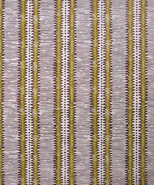 A West African-inspired, striped, zig-zag wallpaper in a straw yellow and aubergine colourway.