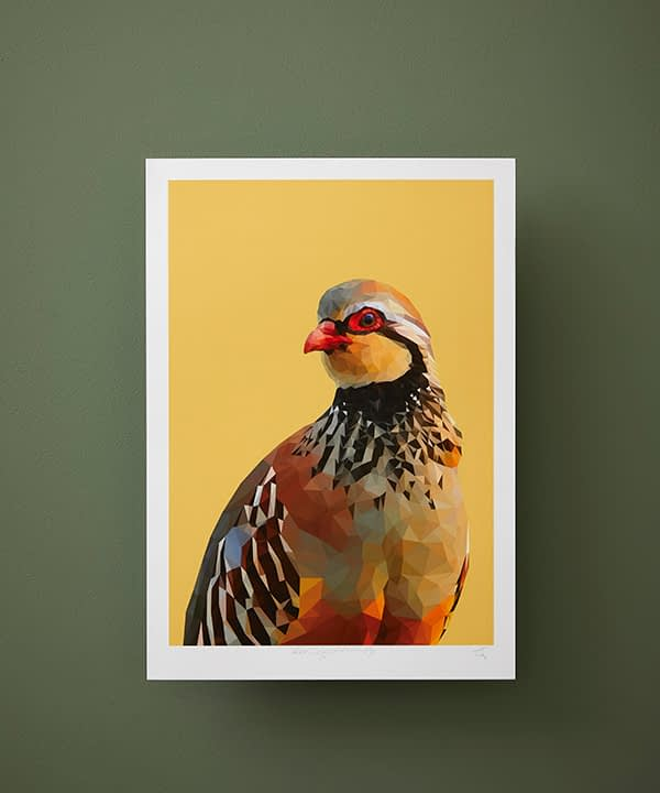 A partridge print on a yellow ground against a deep green wall.