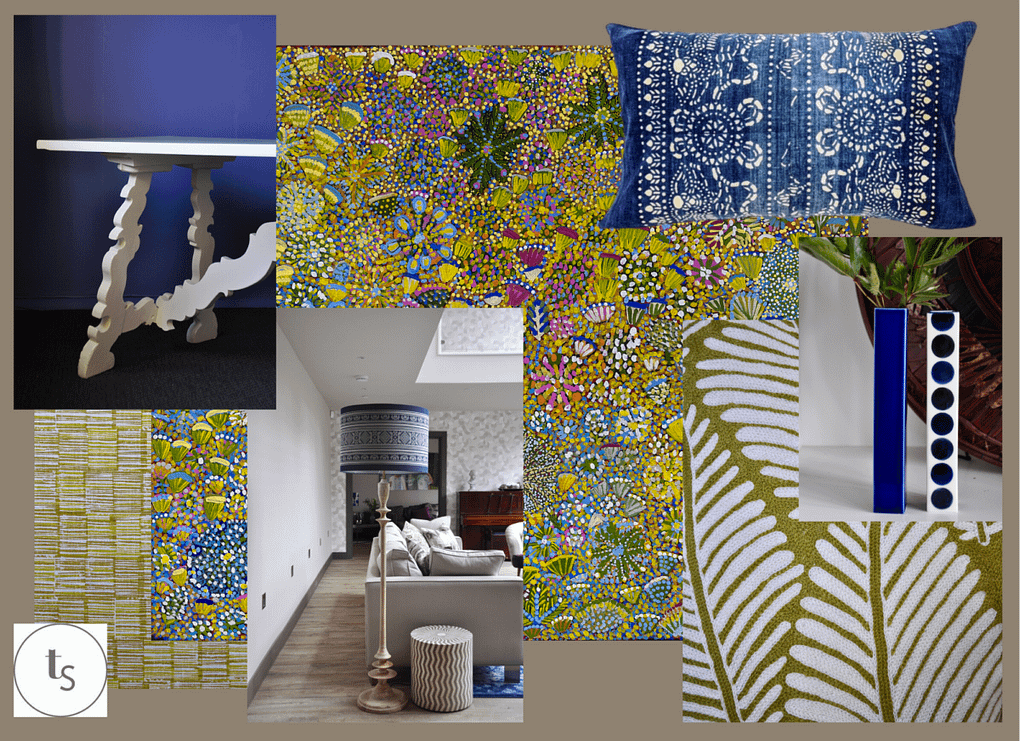 Australian Aboriginal art mood boards for interior design with a modern, eclectic twist from Telescope Style.