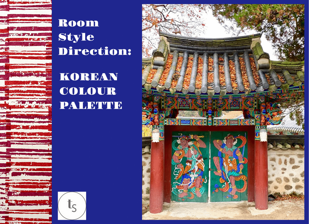 Beautiful Korean temple gates were the inspiration for our eclectic red living room ideas mood board.