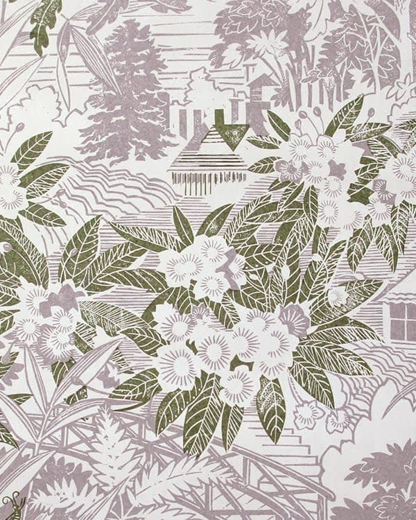 Detail of Webb's Wonder country garden wallpaper in the 'Lilac' colourway.