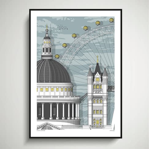 London wall art print architectural drawing depicting St. Paul's Cathedral, Tower Bridge and the London Eye.